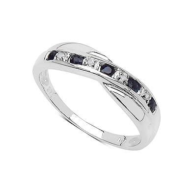 edd119960d14 La Colección Anillo de Zafiro   Anillo Oro Blanco 9ct con Zafiros genuinos  y set diamantes