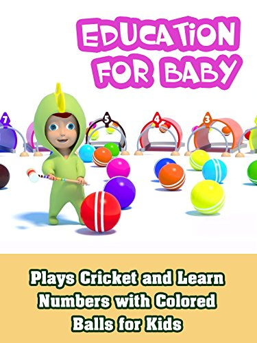 Plays Cricket and Learn Numbers with Colored Balls for - Green Cricket