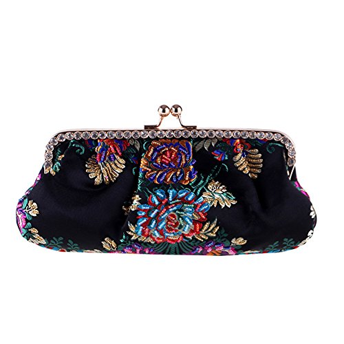 Flower Party Clutch Evening Handbag Handmade Embroidery MSFS Shoulder Dress Black Wedding Women's waIxRqz