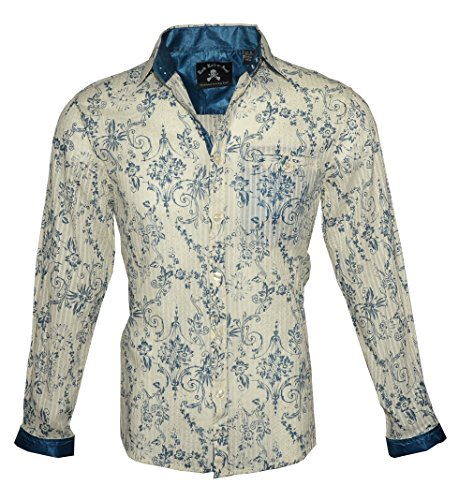Rock Roll-n-Soul Men's Long Sleeve Fashion Button up Dress Shirt in Blue 121 (S) -