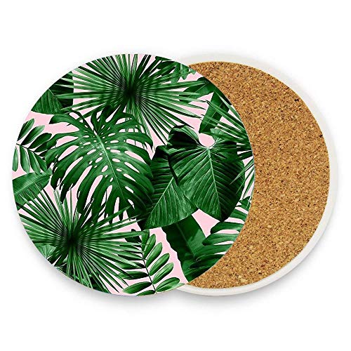 Palm Leaves Green Cork Coasters for Drinks Absorbent Cup Mat Drink Coaster for Home Restaurant Office and Bar, 4 Inches 1 Pack