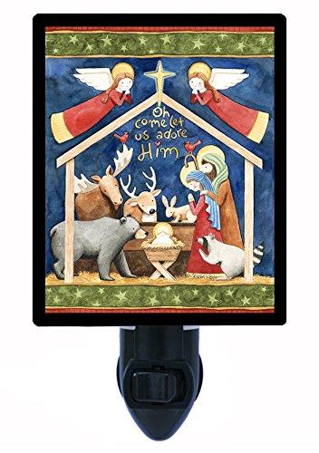 Christmas Night Light - Northwoods Nativity - Angels - Deer - LED Night Light ()