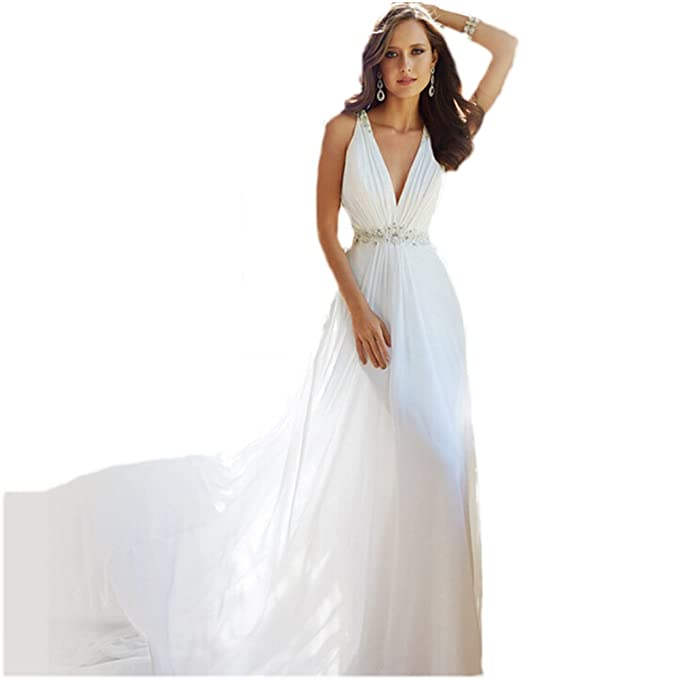 WeWind Vestido de novia Atractivo Rastrero Cinturo Cuello en V Ropa de boda Blanco Sin manga