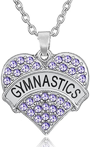 """Glamour Girl Gifts Collection Girls, Teens Heart Shaped Gymnastics Charm Pendant Necklace (Purple 1"""")"""