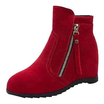 LuckyGirls Botas de Ante Cuñas Aumento Interno Zapatos para Mujer Botitas Zapatillas 6cm: Amazon.es: Deportes y aire libre