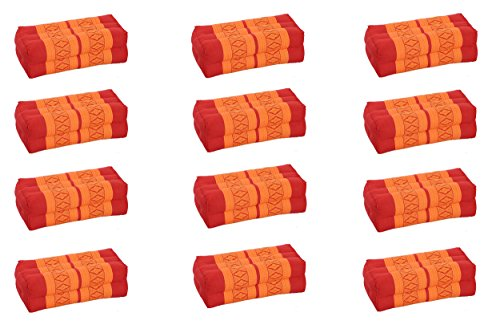 Value Pack: 12 Kapok Block Cushions (Thai Fabric Orange&Red) Handelsturm Original by Handelsturm