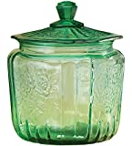 Miles Kimball Green Depression Style Glass Biscuit Jar