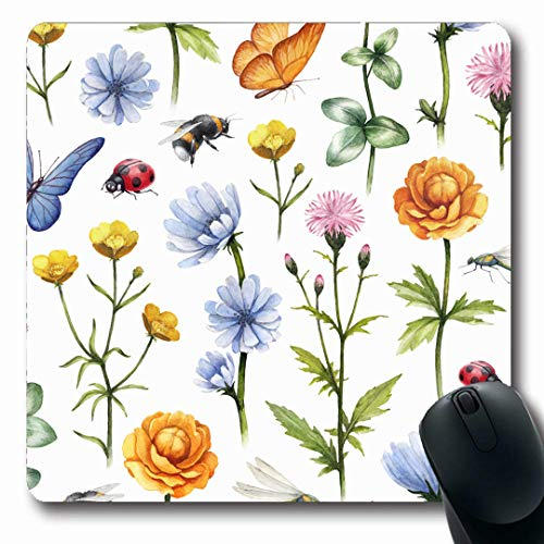 Ahawoso Mousepads Insect Drawing Wild Flowers Insects Watercolor Clover Summer Nature Pattern Buttercup Meadow Grass Oblong Shape 7.9 x 9.5 Inches Non-Slip Gaming Mouse Pad Rubber Oblong - Slip Buttercup