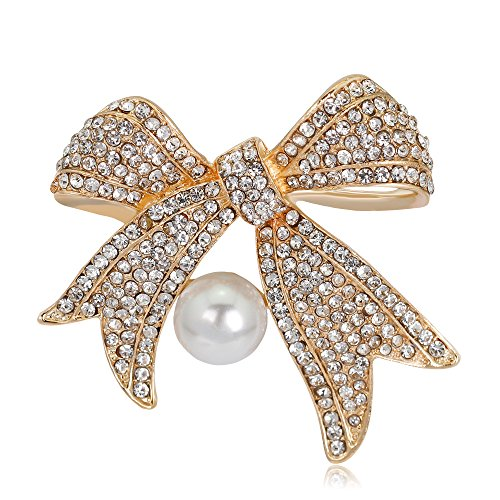 Ribbon Brooch Gold (MUZHE Shining Crystal Ribbon Bow Brooch Pin with pearl for Women Girls Wedding Party (gold))