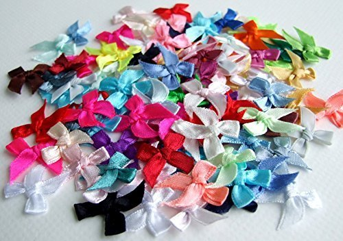 100 Satin Ribbon Bows Mini Mixed Embellishment Craft Artificial Applique Wedding (Mini Ribbon)