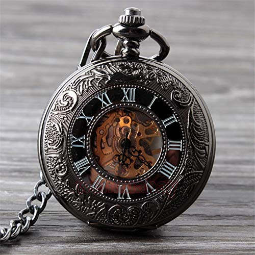 (Vintage Black Mechanical Pocket Watch Mens Classic Elegant Hollow Skeleton Hand Wind Male Clock Pendant)