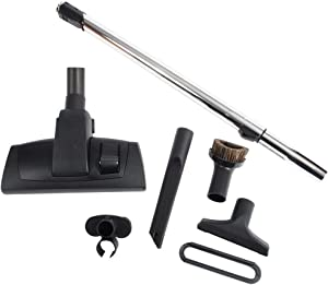 "Cen-Tec Systems 95094 12"" Combination Hard Floor and Carpet Vacuum Nozzle and Attachments with Button Locking Telescopic Chrome Wand, Kit w, Black"
