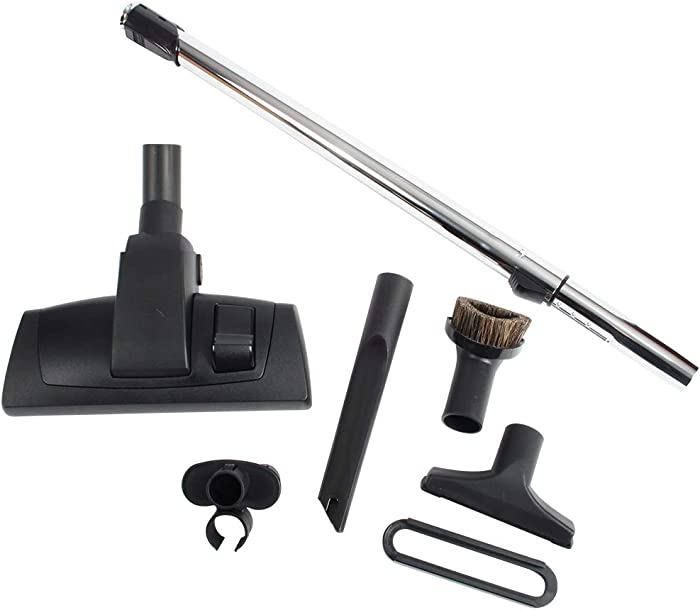 """Cen-Tec Systems 95094 12"""" Combination Hard Floor and Carpet Vacuum Nozzle and Attachments with Button Locking Telescopic Chrome Wand, Kit w, Black"""