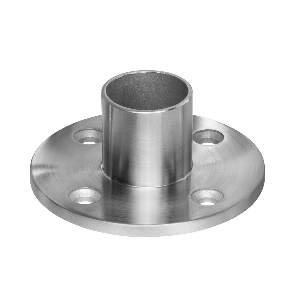 Stainless Steel Round Long Neck Floor Flange Base, Round Tube Post Anchor, Top Hand Rail Wall Mount for Cable Railing Deck, 316 Marine Grade (Terminal Posts)