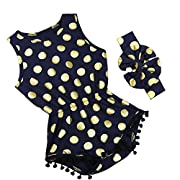 iiniim Newborn Baby Girls Summer Romper Headband Set Polka Dots Bodysuit Navy Blue 0-3 Months