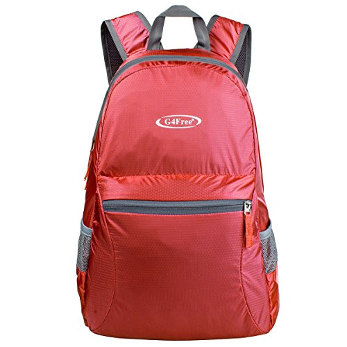 G4Free Ultra Lightweight Packable Backpack Hiking Daypack,Handy Foldable Camping Outdoor Backpack(Red)