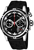Louis Moinet Jules Verne Instrument III Mens Automatic Mono-Pusher Chronograph Watch - 47mm Black Face with Sapphire Crystal Swiss Made Stainless Steel and Titanium Black Rubber Band Watch for Men