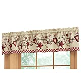 Collections Etc Country Heart Checkered Rod Pocket Window Valance, Red