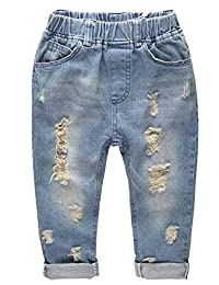 Kidscool Space Retro Toddler Little Child Rippd Holes Elastic Waist Fashion Jeans
