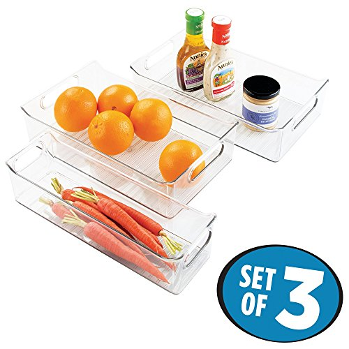 mDesign Kitchen, Pantry, Refrigerator, Freezer Storage Organizer Bins - Set of 3, Clear