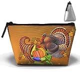 Ministoeb Portable Makeup Bag Thanksgiving Turkey Black Hat Large Trapezoidal Storage Pouch Zipper Cosmetic Toiletry Bags