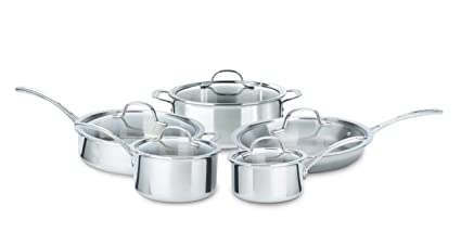 NEW 4-PC Calphalon Tri-Ply Stainless Steel Covered Sauce Pans 1.5QT /& 2.5QT