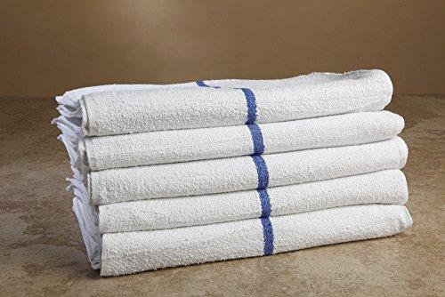 48 New Striped Bar Towels Bar Mops 100% Cotton 16x19 Premium Chefs Supply 32oz By OMNI (Striped Bar Towel)