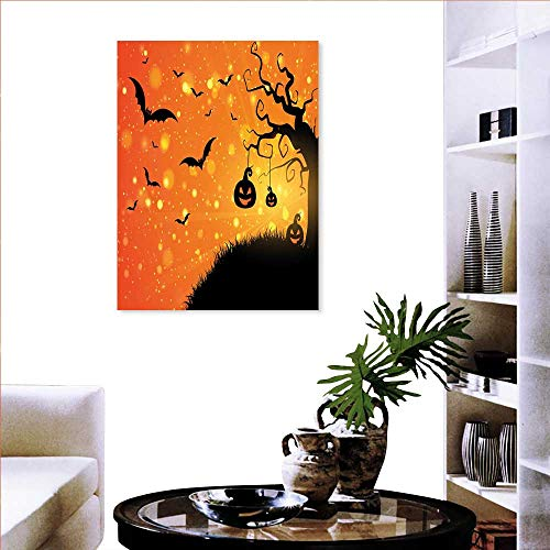 Halloween Brick Wall Stickers Magical Fantastic Evil Night Icons Swirled Branches Haunted Forest Hill Wall Stickers 24