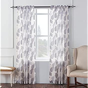 KEQIAOSUOCAI 2 Pieces Window Big Leaves Embroidered Sheer Window Gray  Curtains Panels For Bedroom(Gray