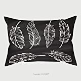 Custom Satin Pillowcase Protector Vintage Hand Drown Feathers Set On A Chalkboard Background 348268016 Pillow Case Covers Decorative