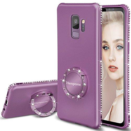 Henpone Samsung Galaxy S9 Case, Lilac Purple Girly Glitter Phone