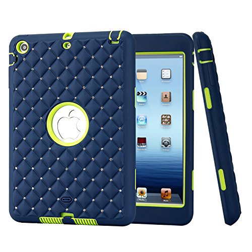 iPad Mini Case, iPad Mini1/ 2/ 3 Case, Easytop Diamond Studded Crystal Rhinestone 3 in 1 Bling Hybrid Shockproof Cover Silicone and Hard PC Case for Apple iPad Mini 3 - Stores Glasses Dallas In