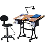 Martin Creation Station Art-Hobby Table and Chair Set, Black with Tiltable Cherry Top, 24-Inch by 40-Inch Size Surface