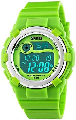 Unisex Children Waterproof LED Calendar Stopwatch Sports Wrist Watch Green