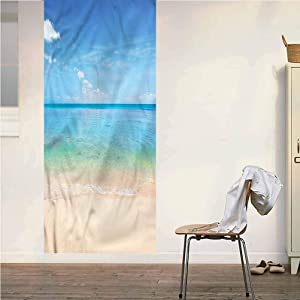 Poppy Ramsden Ocean ONE Piece Door Mural Wall Sticker,Island Seashore Sandy Beach Peel and Stick Removable Wallpaper Wall Decal for Door/Wall/Fridge Home Decor,32x80 Inch