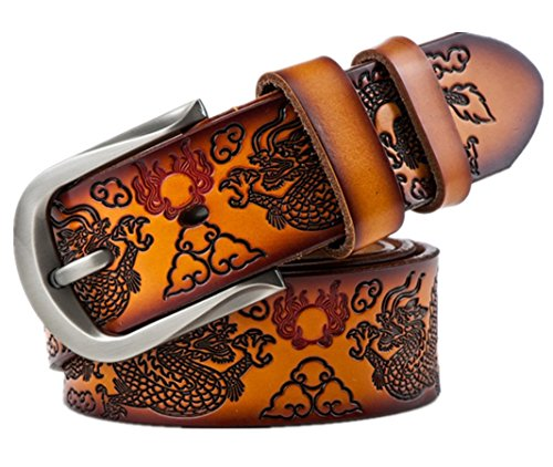 C.X Trendy Men's Dragon Design Leather Reversible Belt Father's Day Gift (Custom: Up to 46