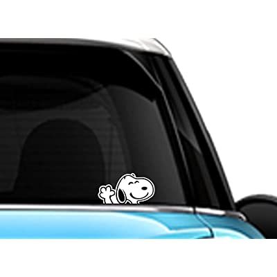 Snoopy Waving Hi White SCI-FI/Comics/Games Automotive Decal/Bumper Sticker: Automotive