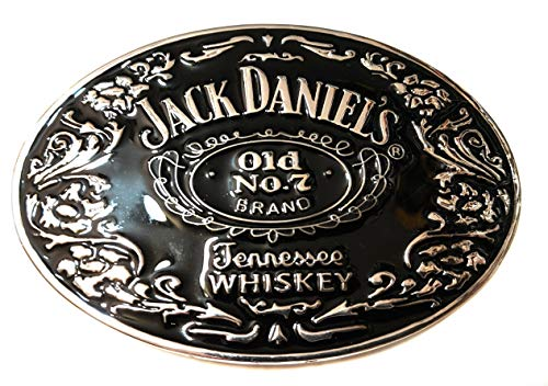 Jack daniels belt buckle old no. 7 silver Black raised detail 4x2.7 inch SuperGifts