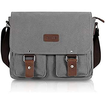 Amazon.com: ibagbar Men's Canvas Messenger Bag Laptop Bag Shoulder ...