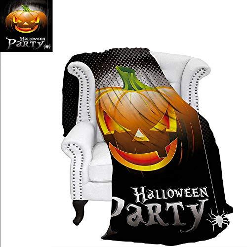 RenteriaDecor Halloween Warm Microfiber All Season Blanket Party Theme Scary Pumpkin Custom Design Cozy Flannel Blanket 50