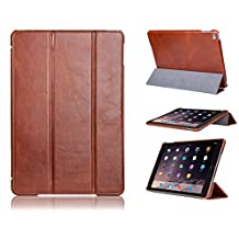 iPad Air 2 Case, FUTLEX Genuine Vintage Style Leather Smart Cover - Brown - Premium Cowhide Leather - Classy Folio Design - Multiple Stand Position - Auto Wake / Sleep Function - Handcrafted - Maximum Protection