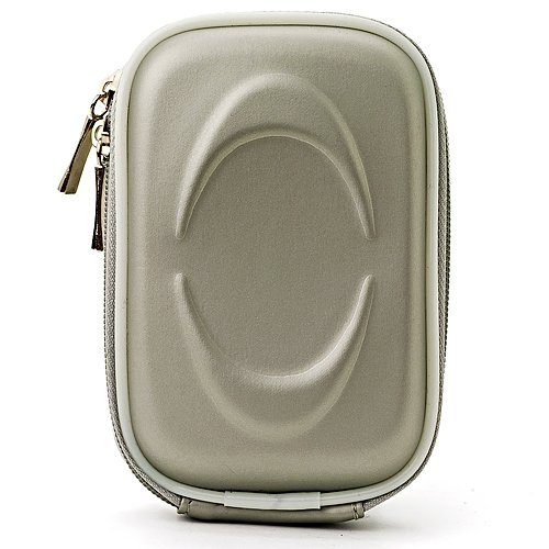 Protective Slim Eva Carrying Hard-shell Case (Grey Eva) For Canon PowerShot ELPH 320 330 340 350 360 500 510 520 530 540 550 HS + Determination Hand Strap by eBigValue