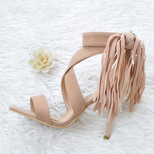 Ankle Chaussures Kolnoo 10cm à Femmes hauts Tassel sandales Wrap talons Nude Nude d'été Handmade w6PxIqr6