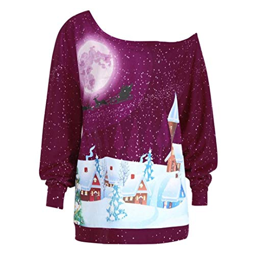 Hot Hot Hot Scoperte Scoperte Scoperte Scoperte FuweiEncore Lunghe Donna Maniche T Christmas Shirt Colore Viola Pink XXXX Large The Party Large con Spalle Dimensione Printed da T a Shirt Size for cRAWRn