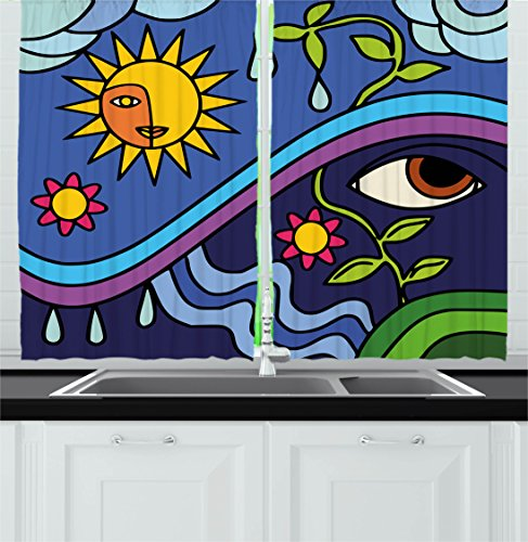 Abstract Decor Kitchen Curtains by Ambesonne, Spiritual Nature Illustration with Sun Sky Flowers and Eye Figures Eco Design, Window Drapes 2 Panels Set for Kitchen Cafe, 55 W X 39 L Inches, (Eco Flower)