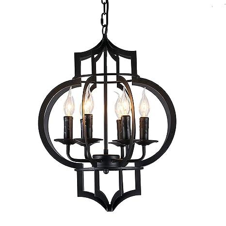 Vintage Hierro jaula colgante lámpara 6 focos Industrial ...