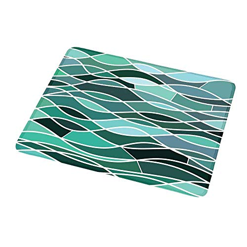 Santorini Aluminum Glass - Mouse Pad Seafoam,Stained Glass Pattern with Wavy Lines and Mosaic Abstract Geometric Composition,Non-Slip Thick Rubber Mousepad Mat 9.8