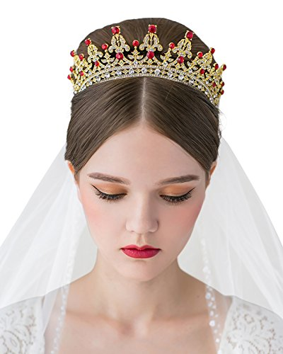 SWEETV Wedding Crown for Bride Princess Tiara CZ Crystal Costume Pageant Tiara Bridal Headpiece Women Hair Jewelry, Gold+Ruby -