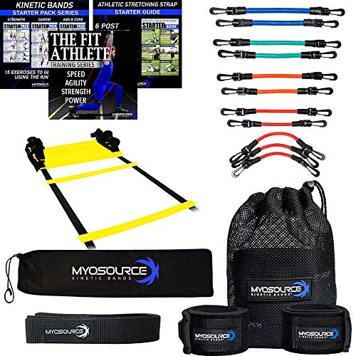 (Kinetic Bands Leg Resistance Bands Speed and Agility Ladder Training Kit - Digital Training Downloads - Improve Foot Speed - Baseball, Basketball, Football, Soccer, Softball)