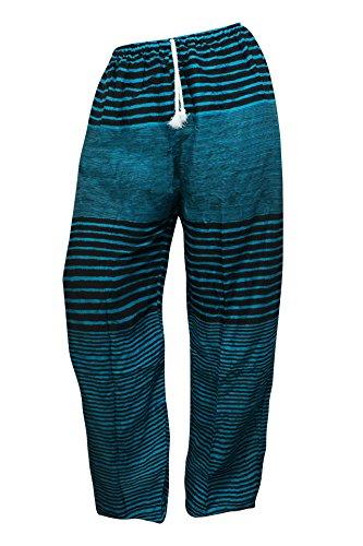 Pantalones holgados con cierre de cuerda amplios MUCHOS DISEÑOS ropa cómoda informal festival yoga pijama pantalones cómodos pantalón bombacho Rayas negras y azul turquesa